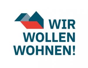 """Dieses Bild zeigt das Logo der Kampagne """"Wir wollen wohnen""""!"""